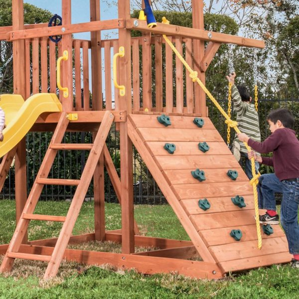 Full Width Rock Wall on Orangutan Fort Swing Set