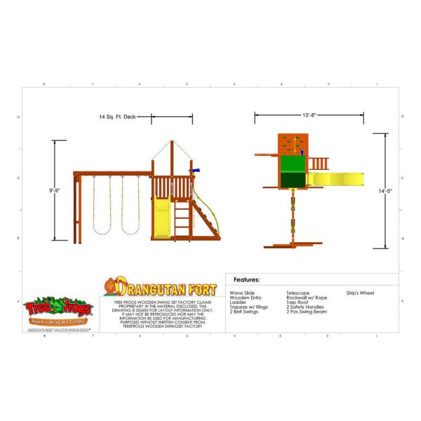 Orangutan Fort Swing Set Technical Specs