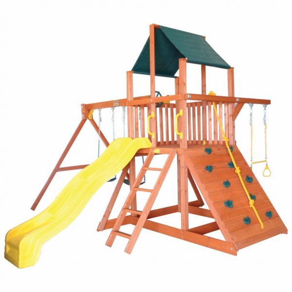 Tree Frogs Orangutan Fort Premium Cedar Wooden Swing Set with Green Tarp and Yellow Wave Slide