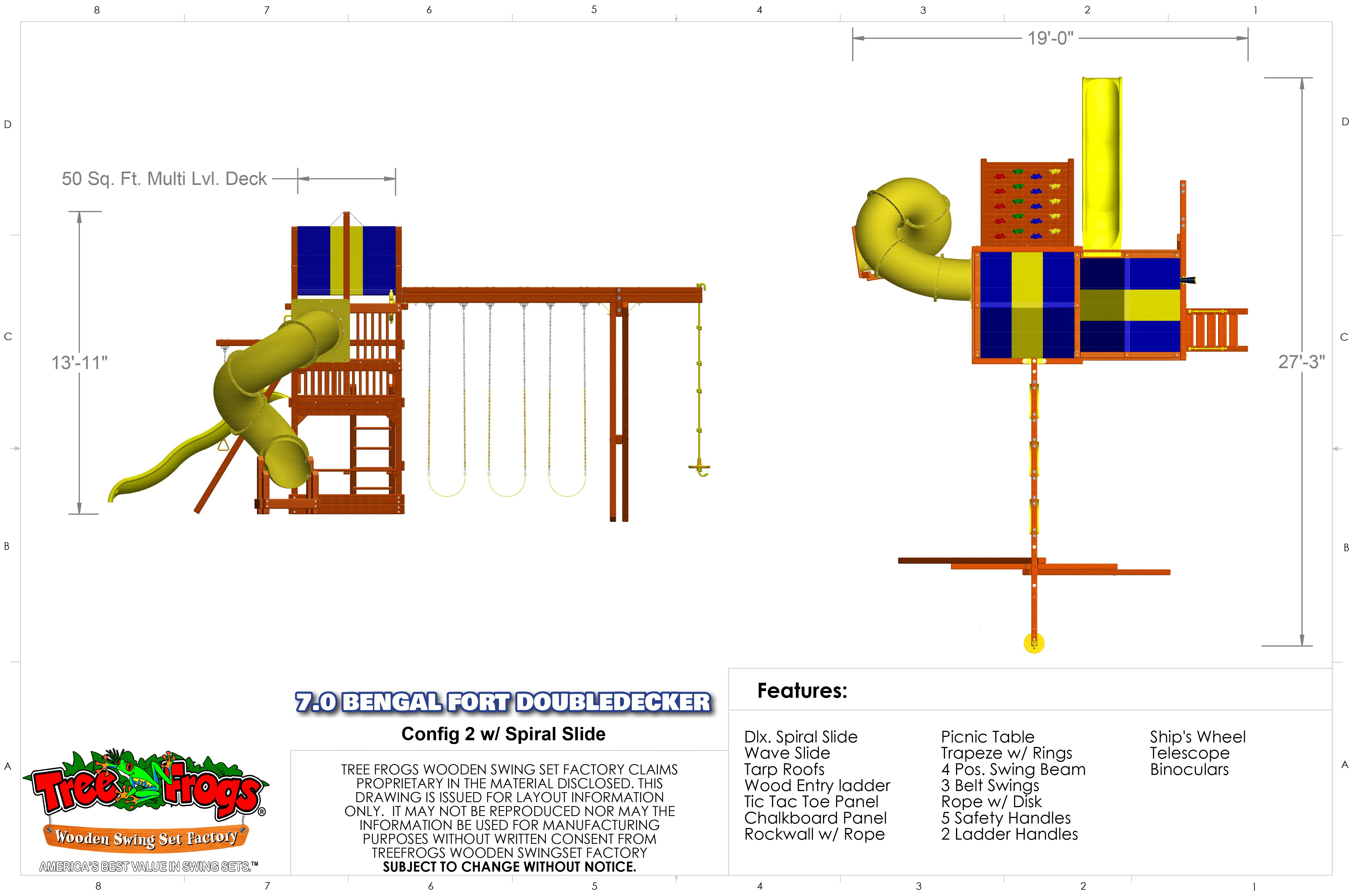 Pg 30T - 7.0 Bengal Fort DoubleDecker Config 2 - Spiral Slide